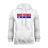 White Fleece Hoodie-Mustangs Basketball Stacked Bar