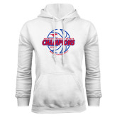 White Fleece Hoodie-AAC Regular Season Champions 2017 Mens Basketball Lined Ball