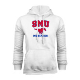 White Fleece Hoodie-Stacked SMU w/Mustang