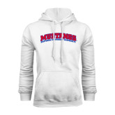 White Fleece Hoodie-Arched Mustangs