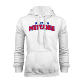 White Fleece Hood-Arched SMU Mustangs
