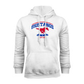 White Fleece Hoodie-Arched Mustangs w/ Banner