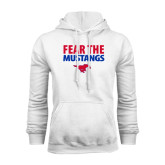 White Fleece Hoodie-Fear the Mustangs