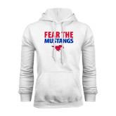 White Fleece Hoodie-Fear the Mustangs