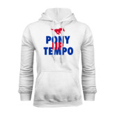 White Fleece Hoodie-Pony Up Tempo Stacked