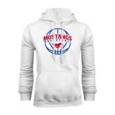 White Fleece Hood-Mustangs Basketball Arched w/ Ball
