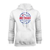White Fleece Hood-Mustangs Basketball Lined Ball