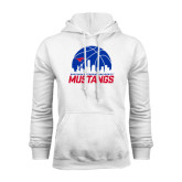 White Fleece Hoodie-Mustangs Basketball Dallas Skyline
