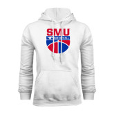 White Fleece Hoodie-SMU Basketball Stacked on Ball