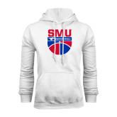 White Fleece Hood-SMU Basketball Stacked on Ball