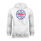 White Fleece Hoodie-SMU Basketball Block Stacked in Circle