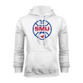 White Fleece Hood-SMU Basketball Block Stacked in Circle