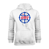 White Fleece Hoodie-SMU Basketball Block in Circle