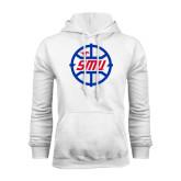 White Fleece Hoodie-SMU Basketball Block in Circle