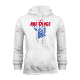 White Fleece Hoodie-Mustangs Basketball Stacked w/ Net