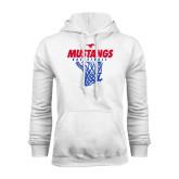 White Fleece Hood-Mustangs Basketball Stacked w/ Net