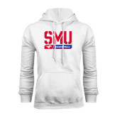 White Fleece Hoodie-SMU Basketball Stencil