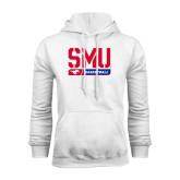 White Fleece Hood-SMU Basketball Stencil