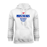 White Fleece Hoodie-Mustangs Basketball Net Icon