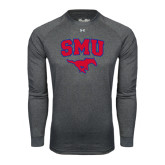 Under Armour Carbon Heather Long Sleeve Tech Tee-SMU w/Mustang