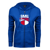 ENZA Ladies Royal Fleece Full Zip Hoodie-SMU Basketball Stacked on Ball