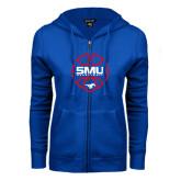 ENZA Ladies Royal Fleece Full Zip Hoodie-SMU Basketball Block Stacked in Circle