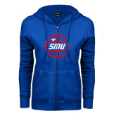 ENZA Ladies Royal Fleece Full Zip Hoodie-SMU Basketball Block in Circle