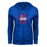 ENZA Ladies Royal Fleece Full Zip Hoodie-SMU Basketball Block in Circle