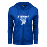 ENZA Ladies Royal Fleece Full Zip Hoodie-Mustangs Basketball Stacked w/ Net