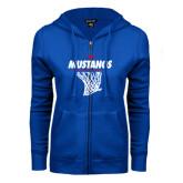 ENZA Ladies Royal Fleece Full Zip Hoodie-Mustangs Basketball Stacked w/ Net