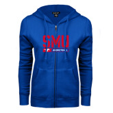 ENZA Ladies Royal Fleece Full Zip Hoodie-SMU Basketball Stencil