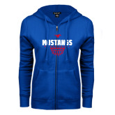 ENZA Ladies Royal Fleece Full Zip Hoodie-Mustangs Basketball Net Icon
