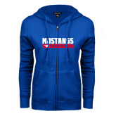 ENZA Ladies Royal Fleece Full Zip Hoodie-Mustangs Basketball Stacked Bar