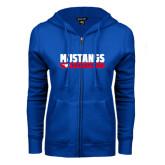 ENZA Ladies Royal Fleece Full Zip Hoodie-Mustangs Basketball Stacked Bar