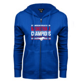 ENZA Ladies Royal Fleece Full Zip Hoodie-2017 AAC Regular Season Mens Basketball Champions Stacked