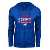ENZA Ladies Royal Fleece Full Zip Hoodie-2017 AAC Regular Season Champs - Mens Basketball Half Ball
