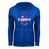 ENZA Ladies Royal Fleece Full Zip Hoodie-AAC Regular Season Champions 2017 Mens Basketball Lined Ball