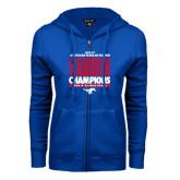 ENZA Ladies Royal Fleece Full Zip Hoodie-2017 AAC Regular Season Champions Repeating - Mens Basketball