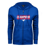 ENZA Ladies Royal Fleece Full Zip Hoodie-2017 AAC Regular Season Champions - Mens Basketball Stencil