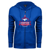 ENZA Ladies Royal Fleece Full Zip Hoodie-2017 AAC Conference Champions - Mens Basketball Banners