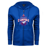 ENZA Ladies Royal Fleece Full Zip Hoodie-2017 AAC Conference Champions - Mens Basketball Arched Net