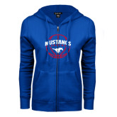 ENZA Ladies Royal Fleece Full Zip Hoodie-Mustangs Basketball Arched w/ Ball