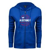 ENZA Ladies Royal Fleece Full Zip Hoodie-Mustangs Basketball Lined Ball