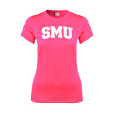 Ladies Performance Hot Pink Tee-Block SMU