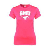 Ladies Performance Hot Pink Tee-SMU w/Mustang