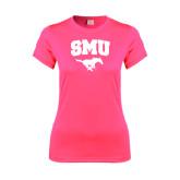 Ladies Performance Hot Pink Tee-SMU w/Mustang