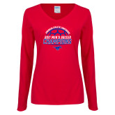 Ladies Red Long Sleeve V Neck Tee-2017 Mens Soccer Champions