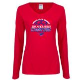 Ladies Red Long Sleeve V Neck T Shirt-2017 Mens Soccer Champions