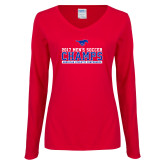 Ladies Red Long Sleeve V Neck T Shirt-2017 Mens Soccer Champs