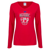 Ladies Red Long Sleeve V Neck T Shirt-2017 Frisco Bowl - Football